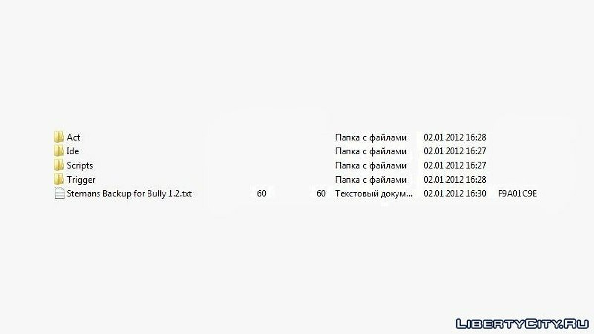 Save Original Ide, Act, Scripts and Trigger folders - Files backup for Bully: Scholarship Edition