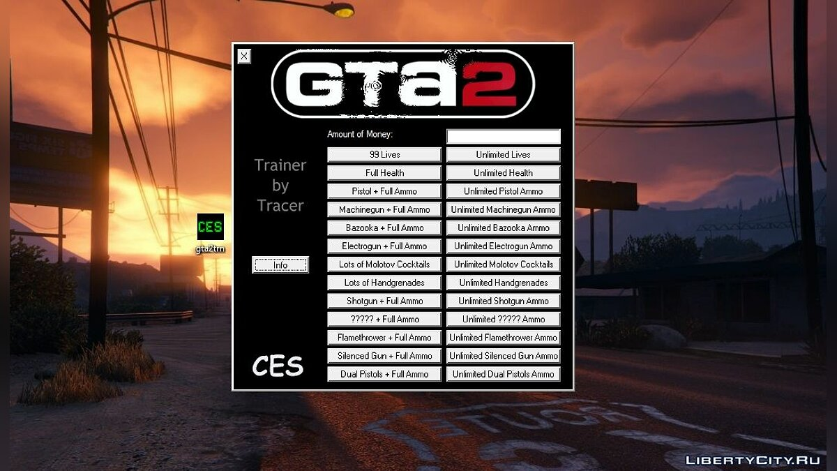 GTA 2 Programs Trainer +27 by Tracer and C.E.S for gta-2