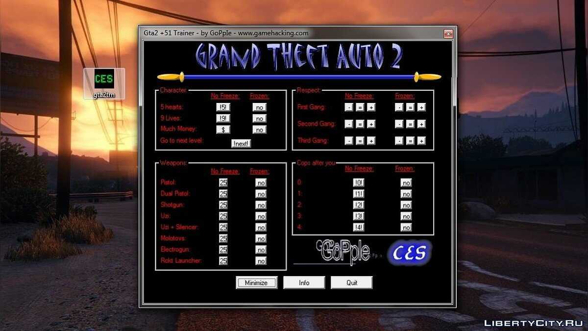 GTA 2 Programs Trainer +51 by GoPpIe and C.E.S. for gta-2