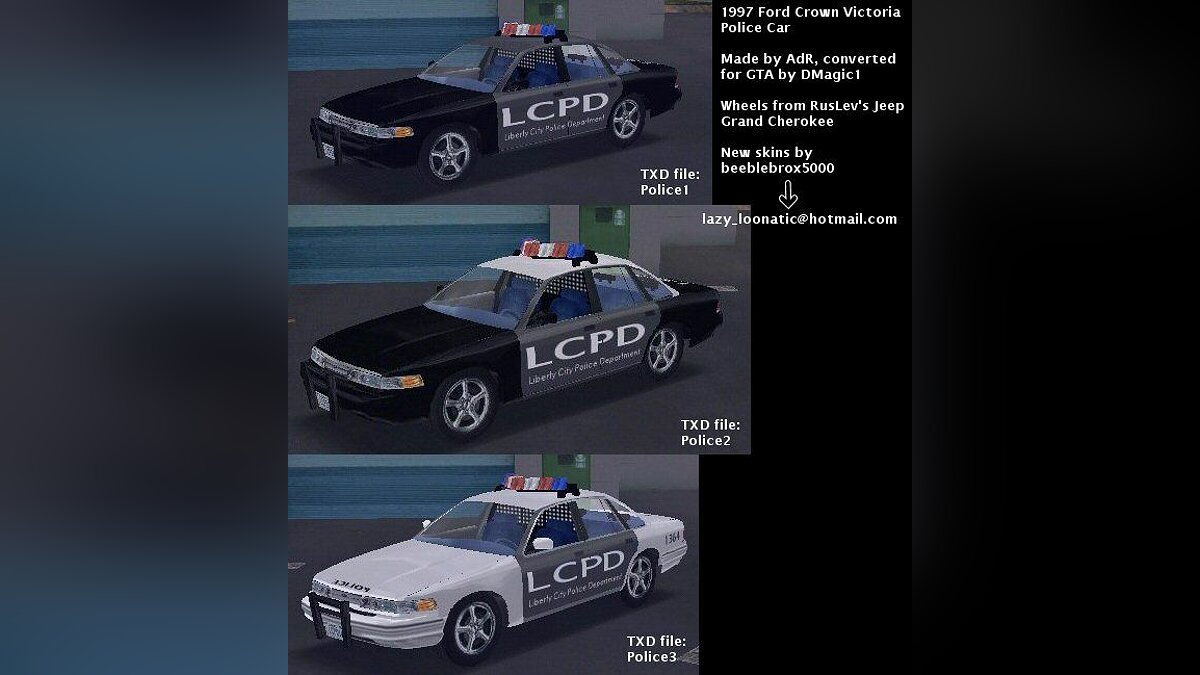 Car textures LCPD Skins for GTA 3