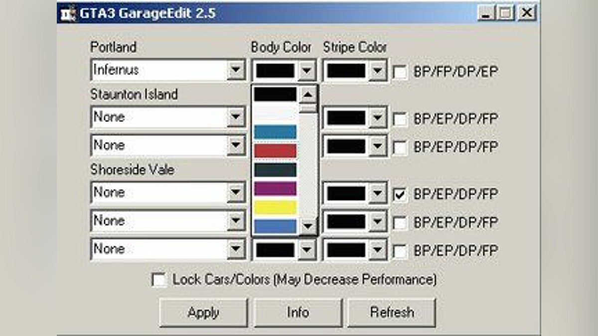 Editor GTA3 Garage Editor v.2.5 for GTA 3