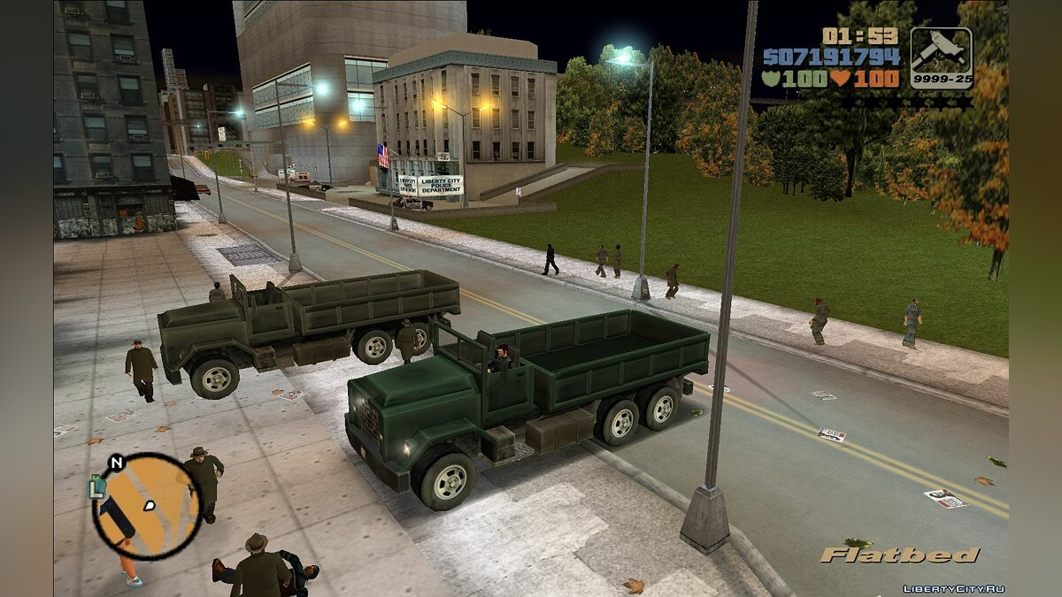 Mod Repainted Securica, Flatbed and Barracks for GTA 3