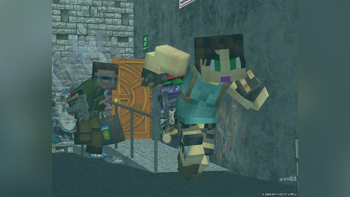 Skin packs Minecraft style people for GTA 3