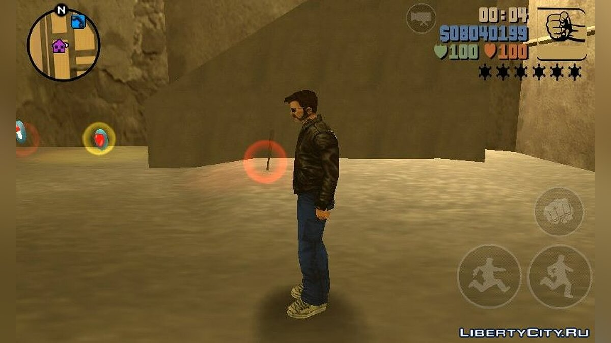 Texture mod Claude in a leather jacket and glasses for GTA 3 (iOS, Android)