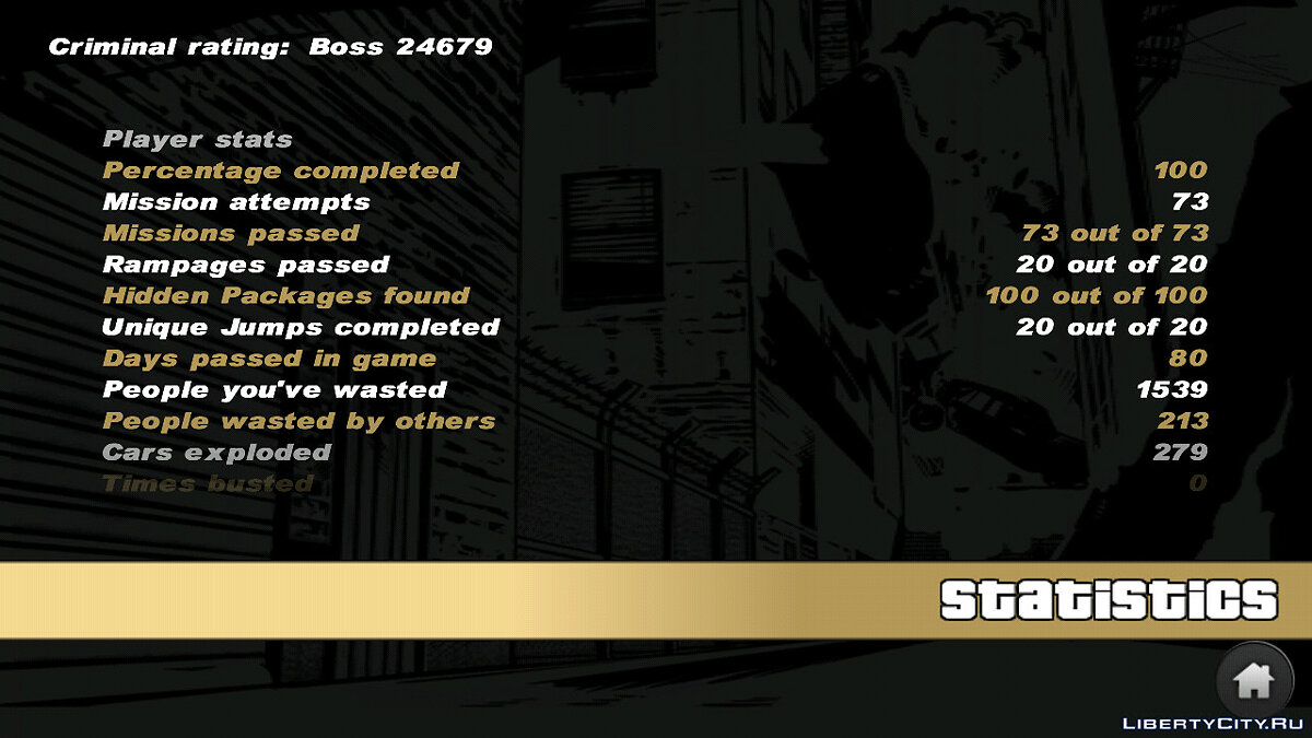 Save Completed 100% - No deaths or arrests for GTA 3 (iOS, Android)