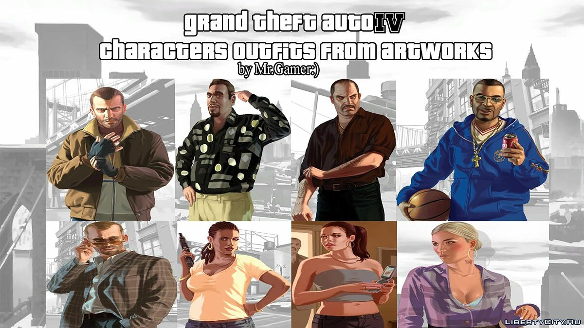 Character changing mod Loading Screen Characters Clothing 2 for GTA 4