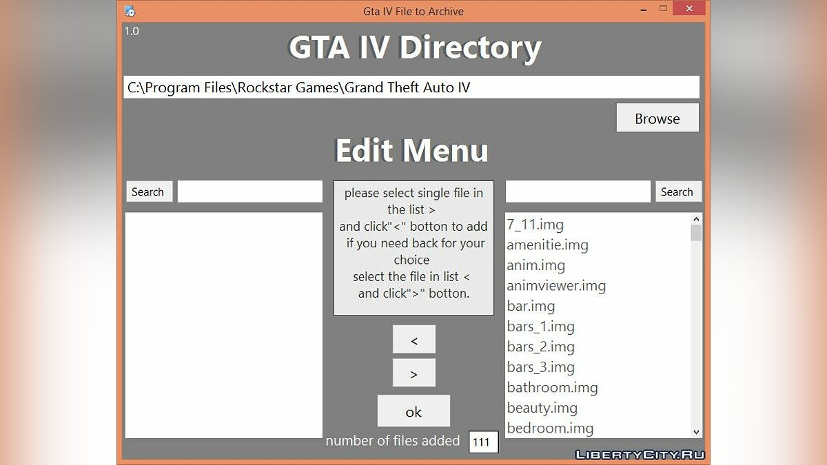 Program gta iv file to archive img v 1.0 for GTA 4