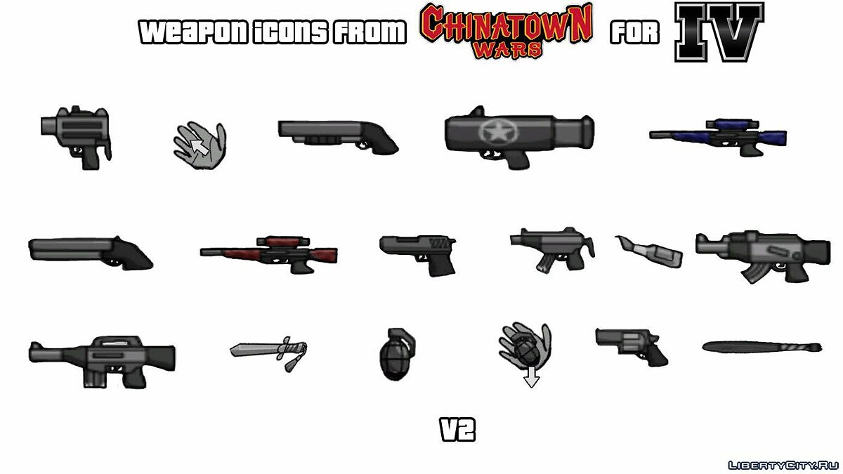 Texture mod Weapon icons from GTA CTW V. 2 for GTA 4