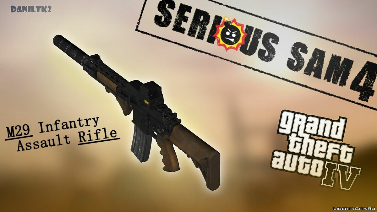 Weapon mod M29 Infantry Assault Rifle from Serious Sam 4 for GTA 4