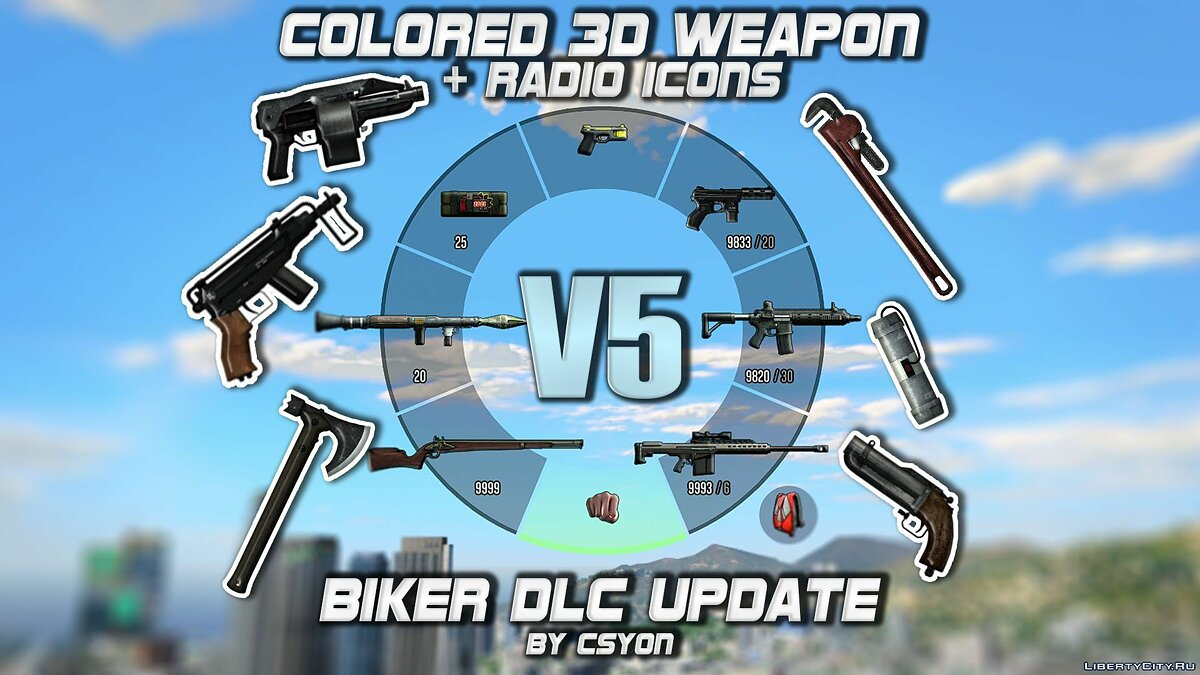 File Colored 3D Weapon + Radio Icons 5.0 for GTA 5
