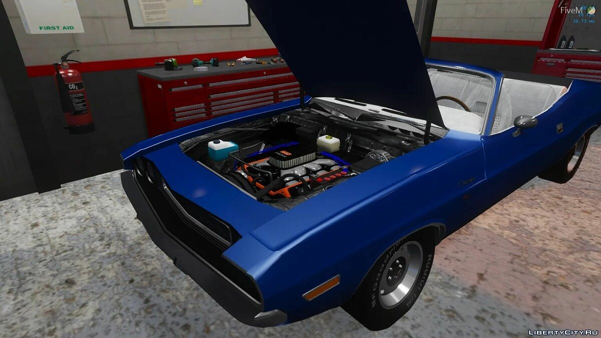 Dodge car 1970 Dodge Challenger Convertible | Fivem Ready | Replacement for GTA 5