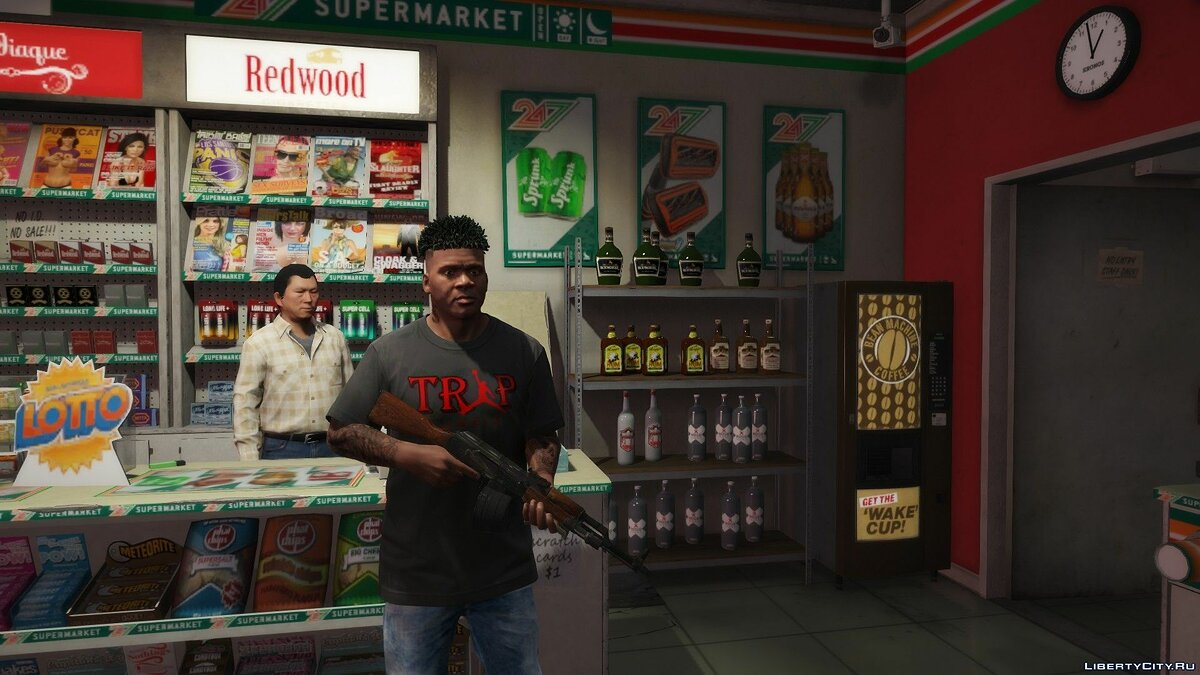 Pullovers and T-shirts T-shirt with TRAP logo for Franklin for GTA 5