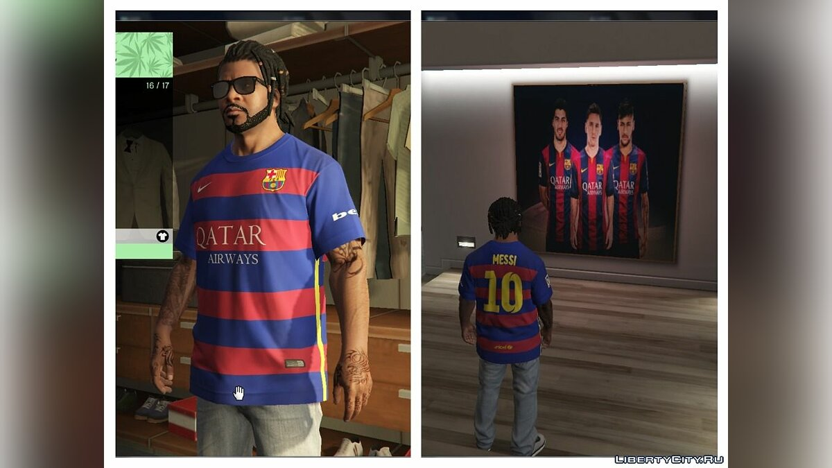 Pullovers and T-shirts Messi Shirt for Franklin for GTA 5