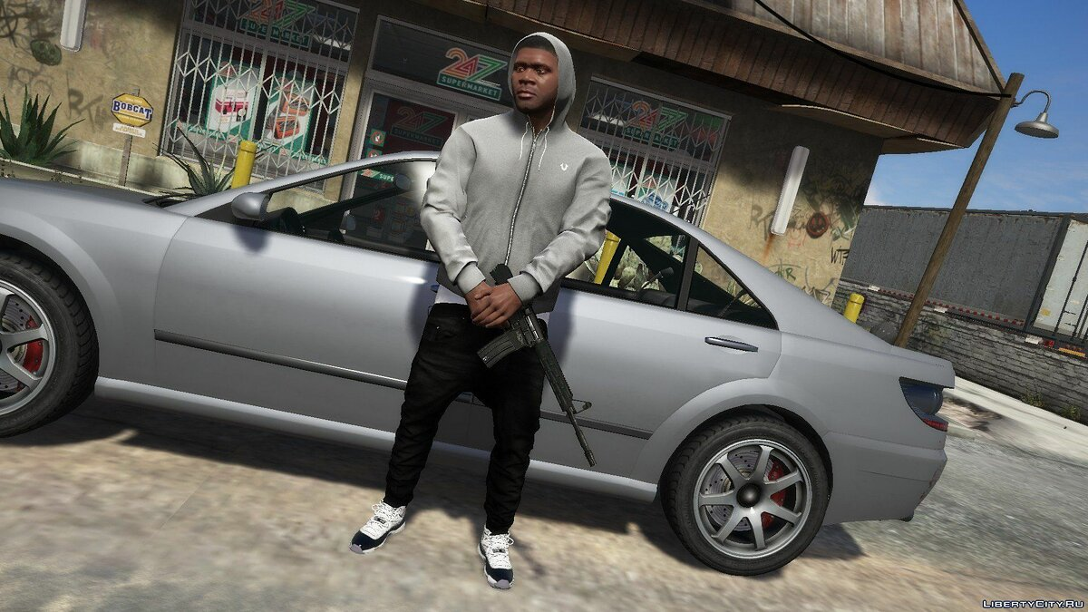 Pullovers and T-shirts Худи Grey True Religion Zip Up for GTA 5