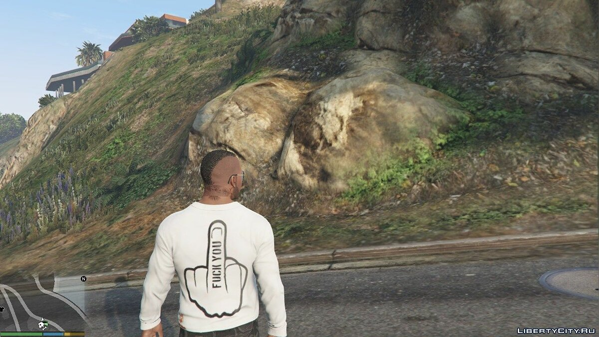 Pullovers and T-shirts T-shirt with logotype F ** k you for GTA 5