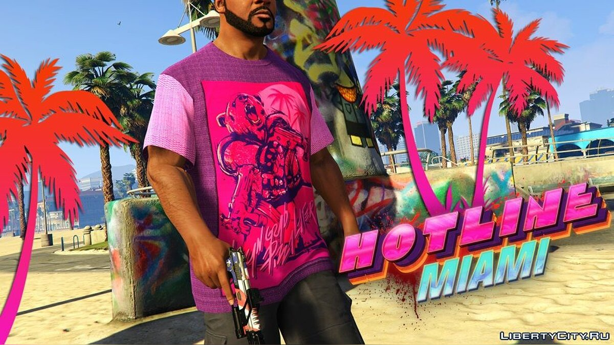 Pullovers and T-shirts T-shirt style game Hotline Miami for GTA 5