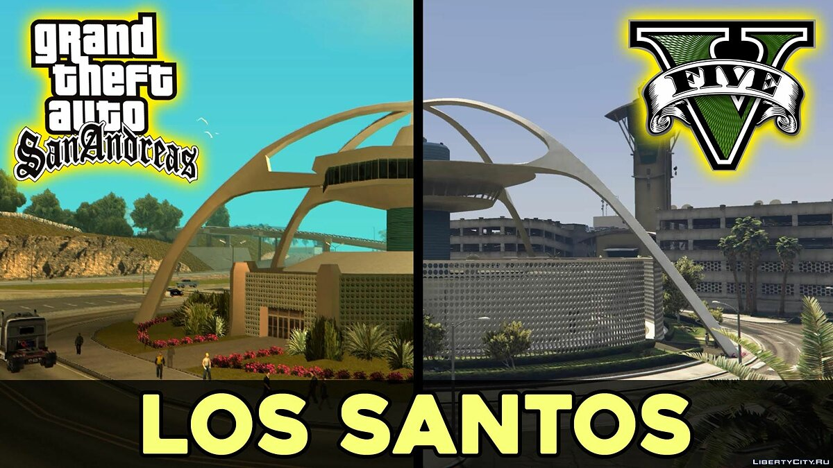 Fan video Comparison of Los Santos from GTA San Andreas and GTA V for GTA 5