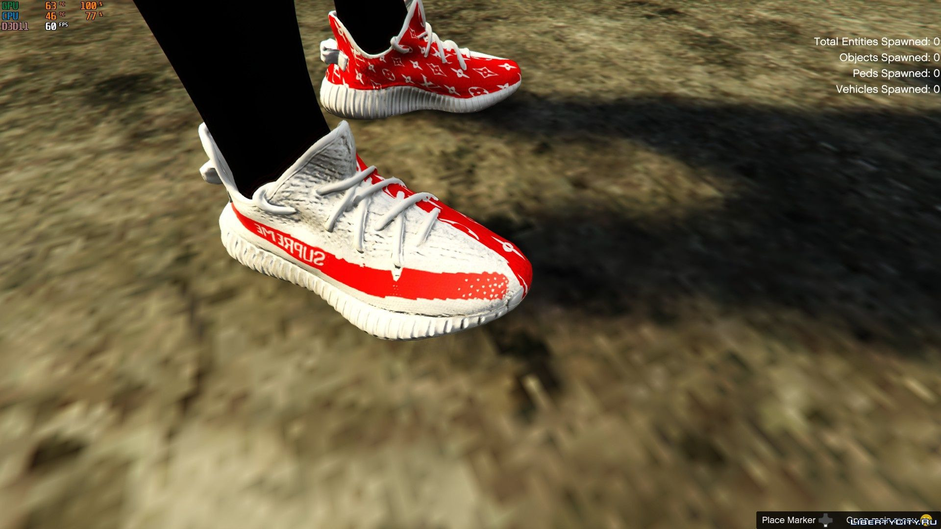 Louis Vuitton X Supreme Yeezy Sneakers For GTA 5