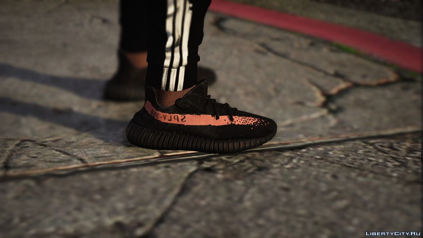 f8153621a43 Boots Yeezy 350 boost V2 Black Gray Salmon   Black Red for GTA 5
