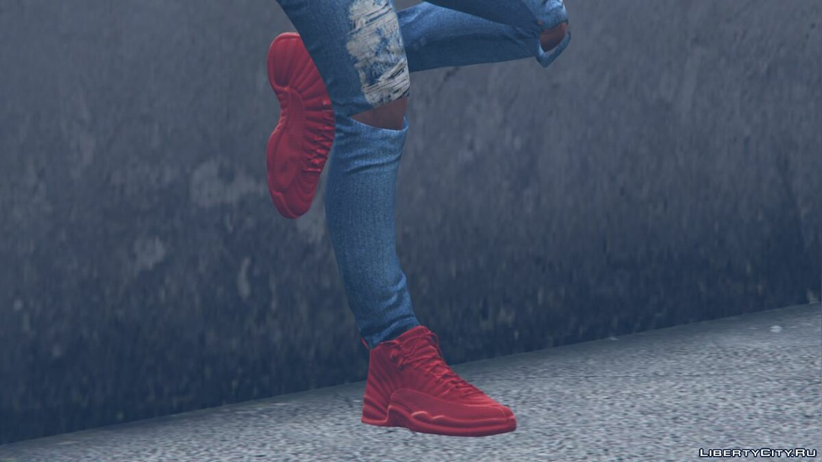 "Boots Air Jordan 12's ""Gym Red"" Sneakers for GTA 5"