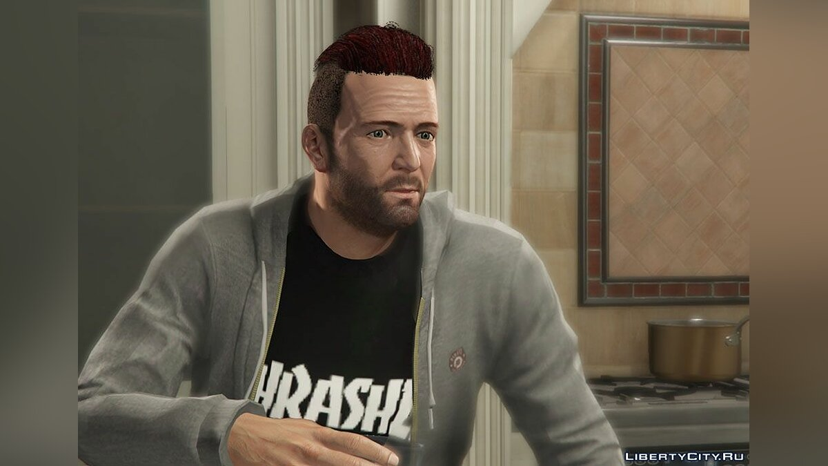 Haircut and beard New hairstyle and face textures for Michael for GTA 5