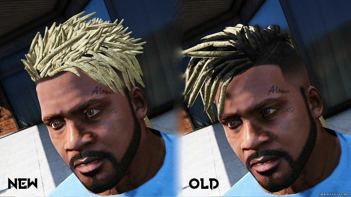 Haircut and beard New Hair for Franklin (Blond Black Panther) 1.0 for GTA 5