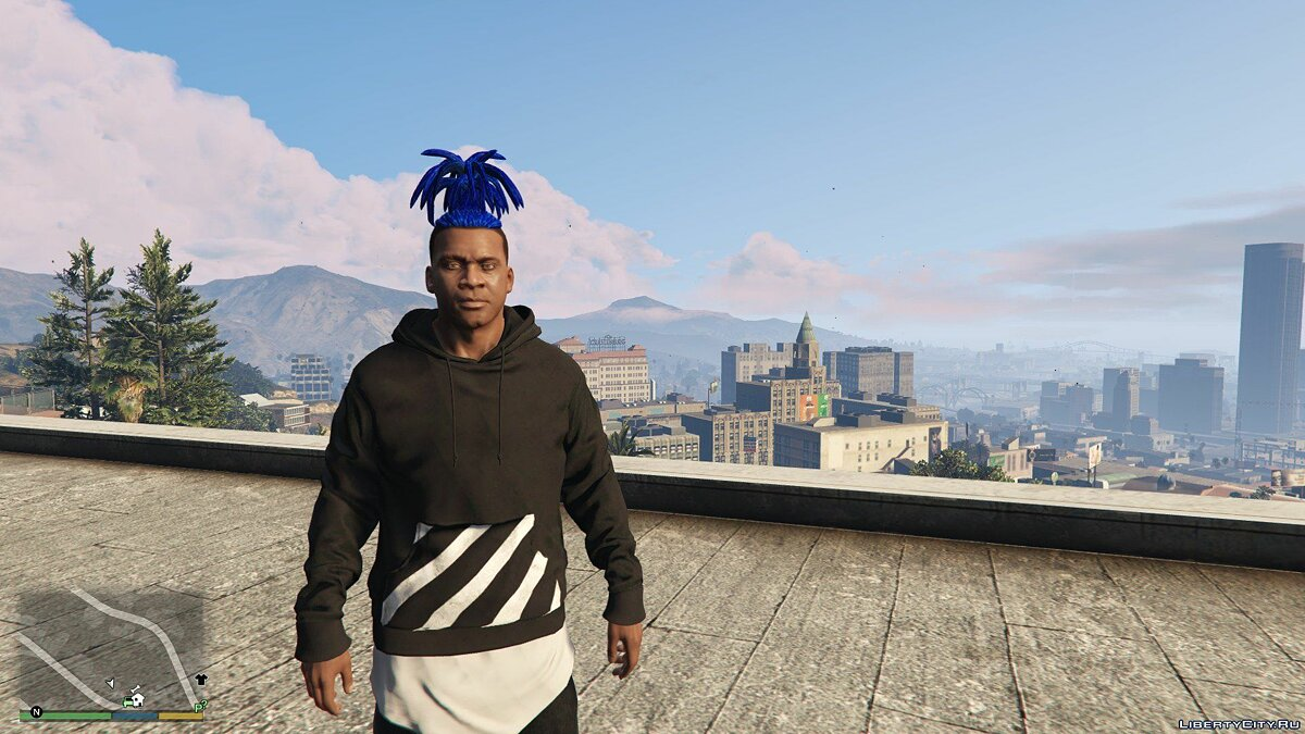 Haircut and beard Upwards tied dreads for Franklin for GTA 5