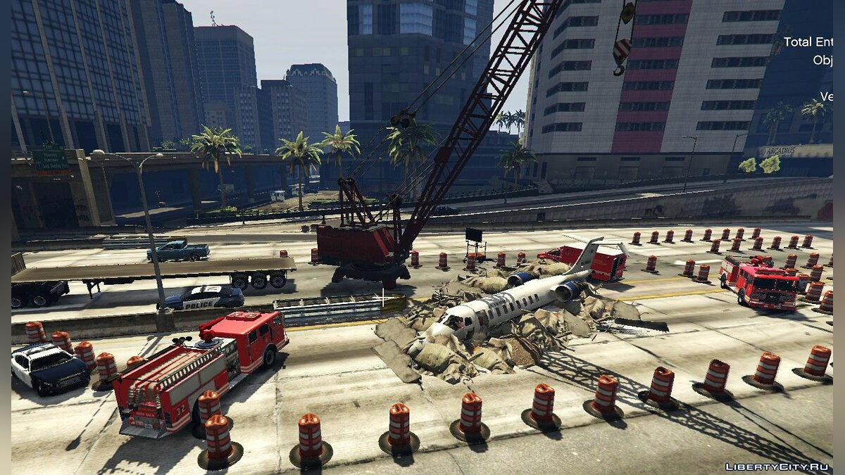 New object Airplane crash on highway for GTA 5