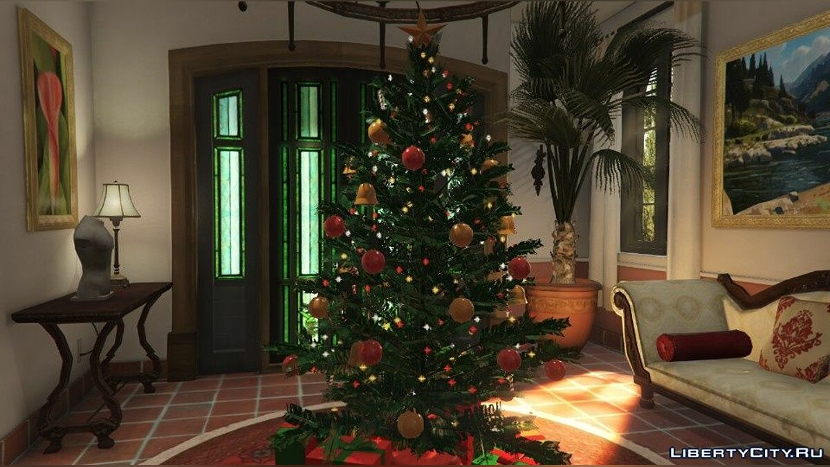 New object Christmas tree in the house of the main characters for GTA 5