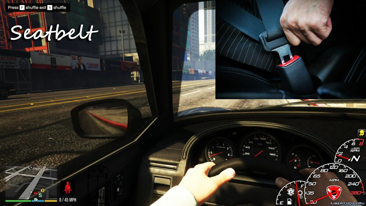 Script mod Seatbelt + Seat Shuffle + GPS radar in specific vehicle 2.1 for GTA 5