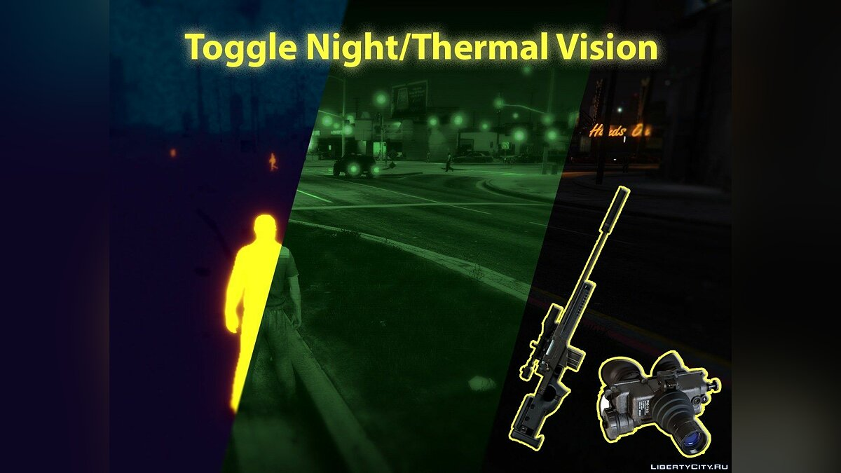 Toggle Night / Thermal Vision (+ scope-only mode) [LUA] 1.3.2 for GTA 5 - Картинка #1