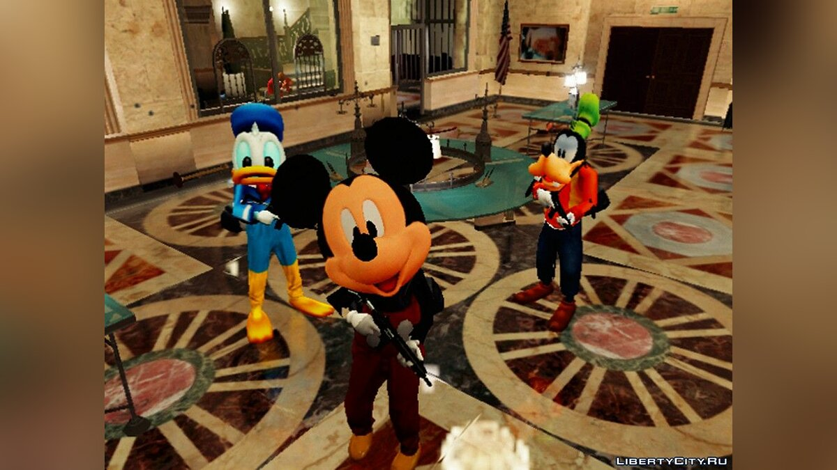 Skin packs Pak clothes and masks of Donald Duck, Goofy and Mickey Mouse for the main characters of the game for GTA 5
