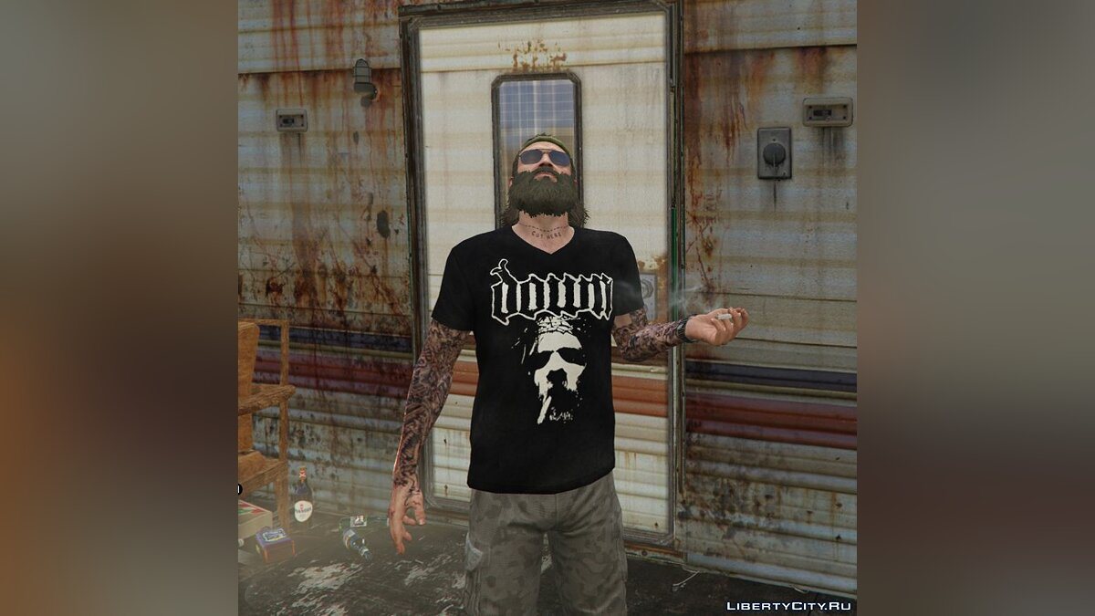 Skin packs Pak T-shirts for Trevor with rock / metal bands for GTA 5