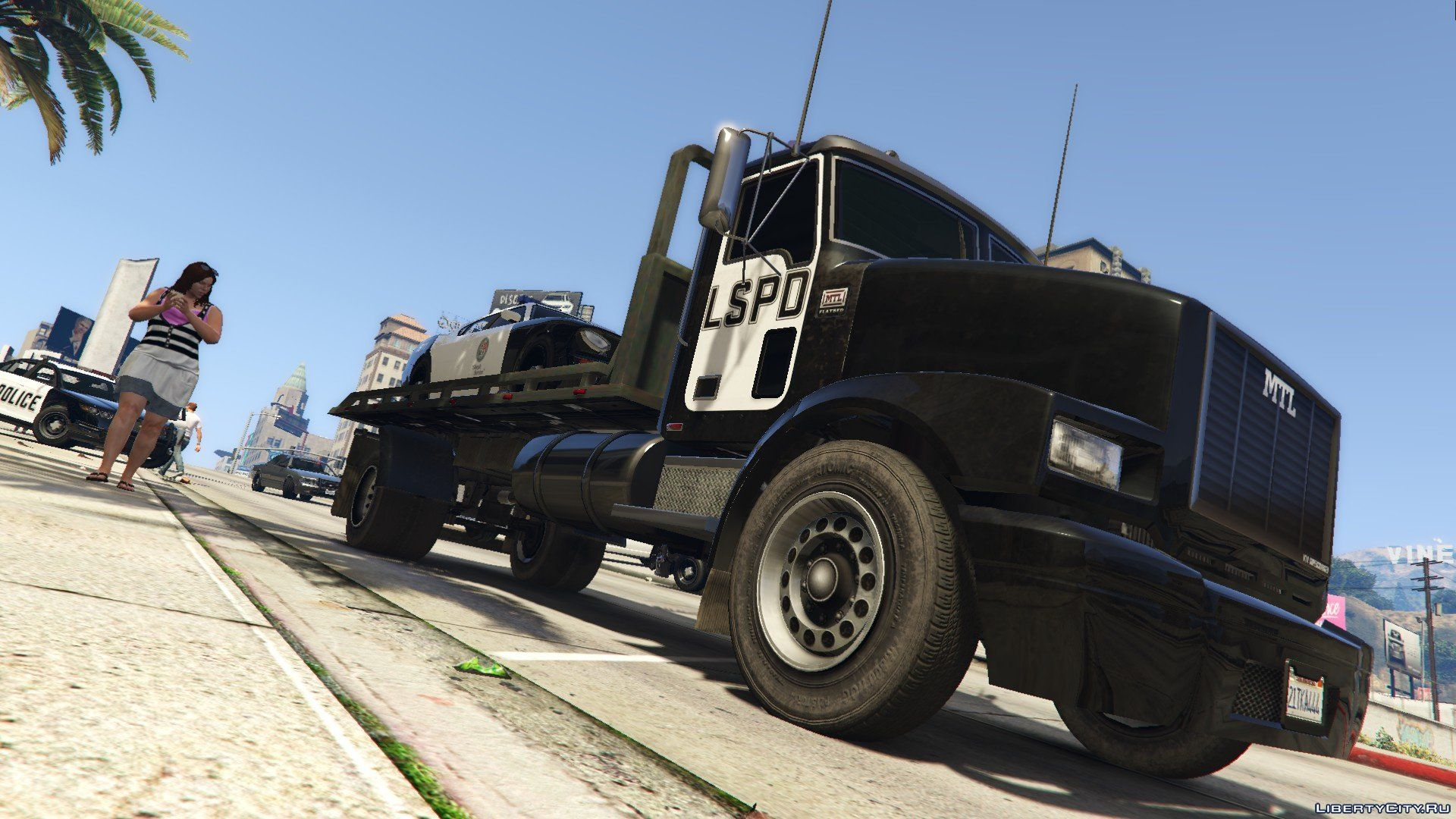 Gta  Flat Bed Tow Truck With Lights