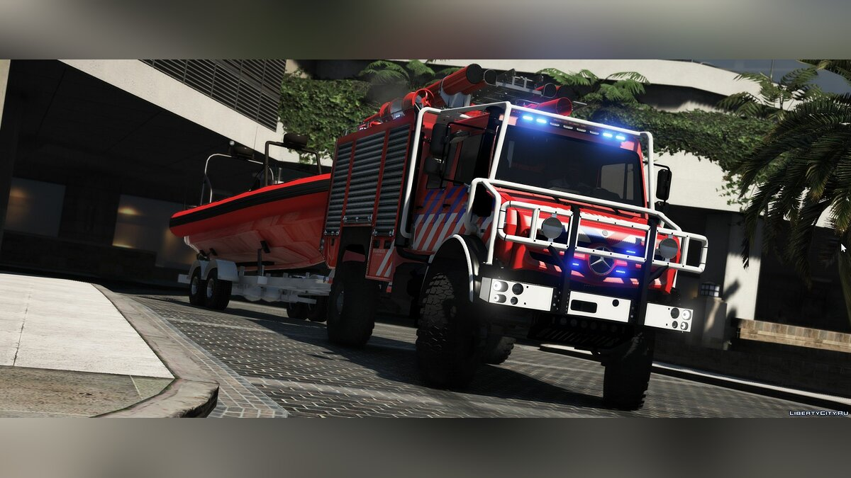 Special Vehicle Mercedes Benz Unimog Offroad firetruck / w Boattrailer [Replace] 1.1 for GTA 5