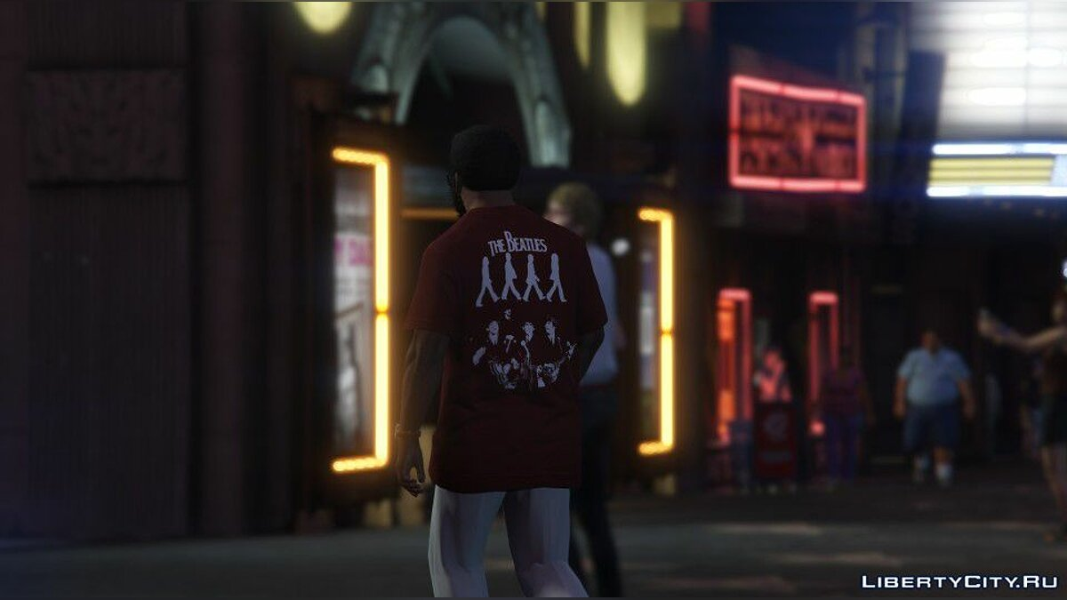 Texture mod The Beatles T-Shirt for Franklin for GTA 5