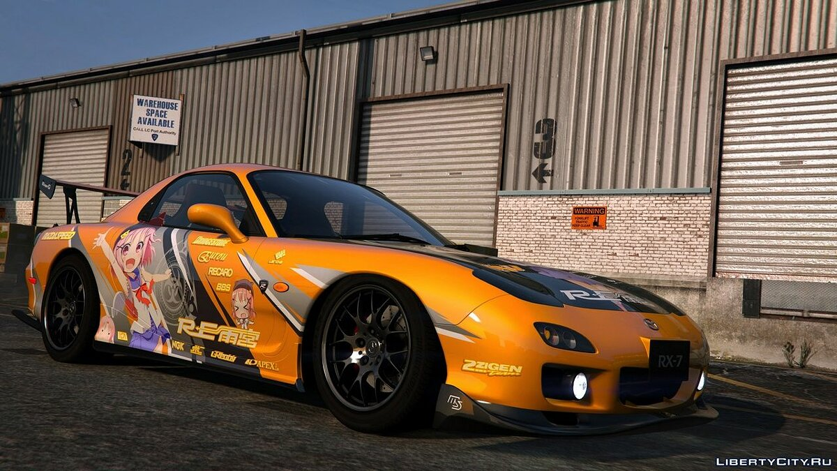 Texture mod Anime Stickers for Mazda RX7 Spirit R for GTA 5