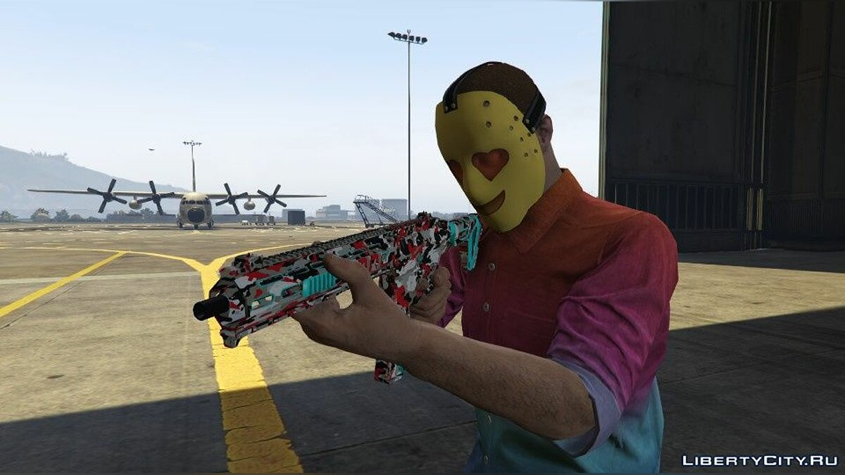 Texture mod RED and BLUE camouflage [Carbine rifle MK2] for SP for GTA 5
