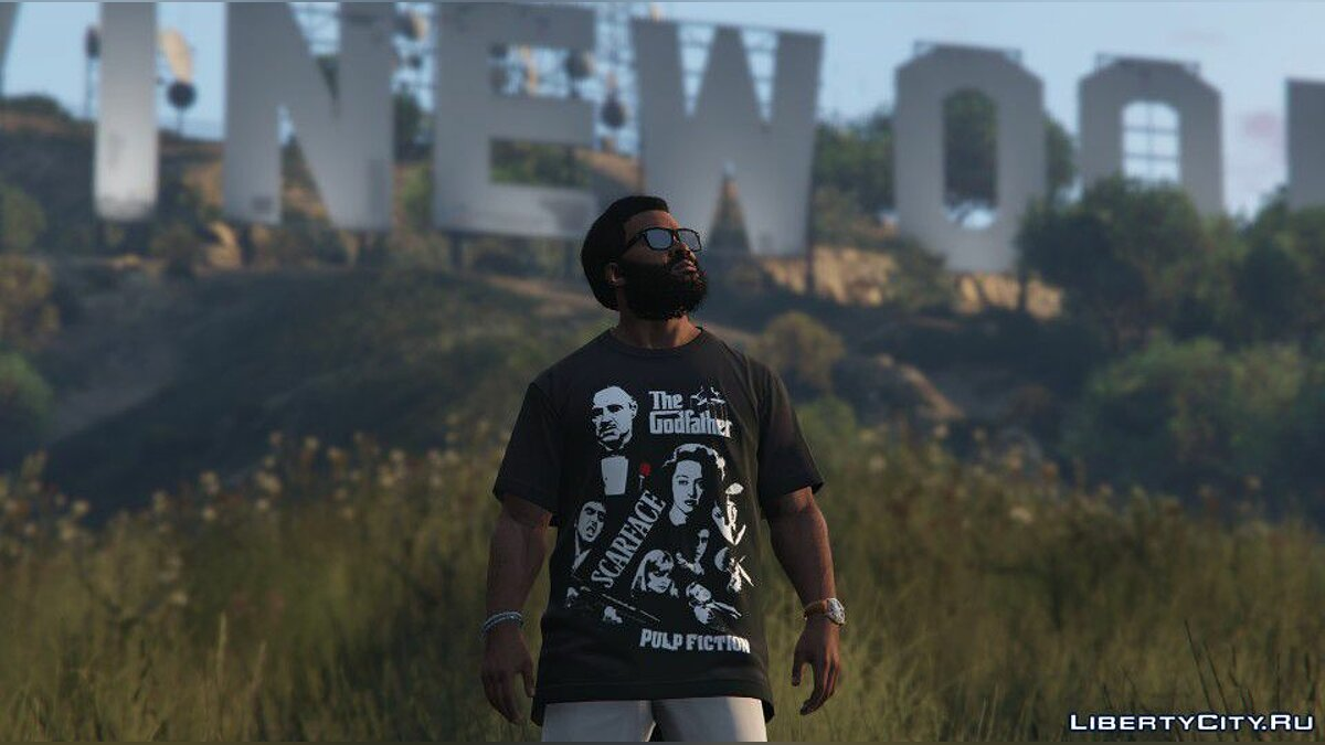 Texture mod Gangster Movies T-shirt for Franklin for GTA 5