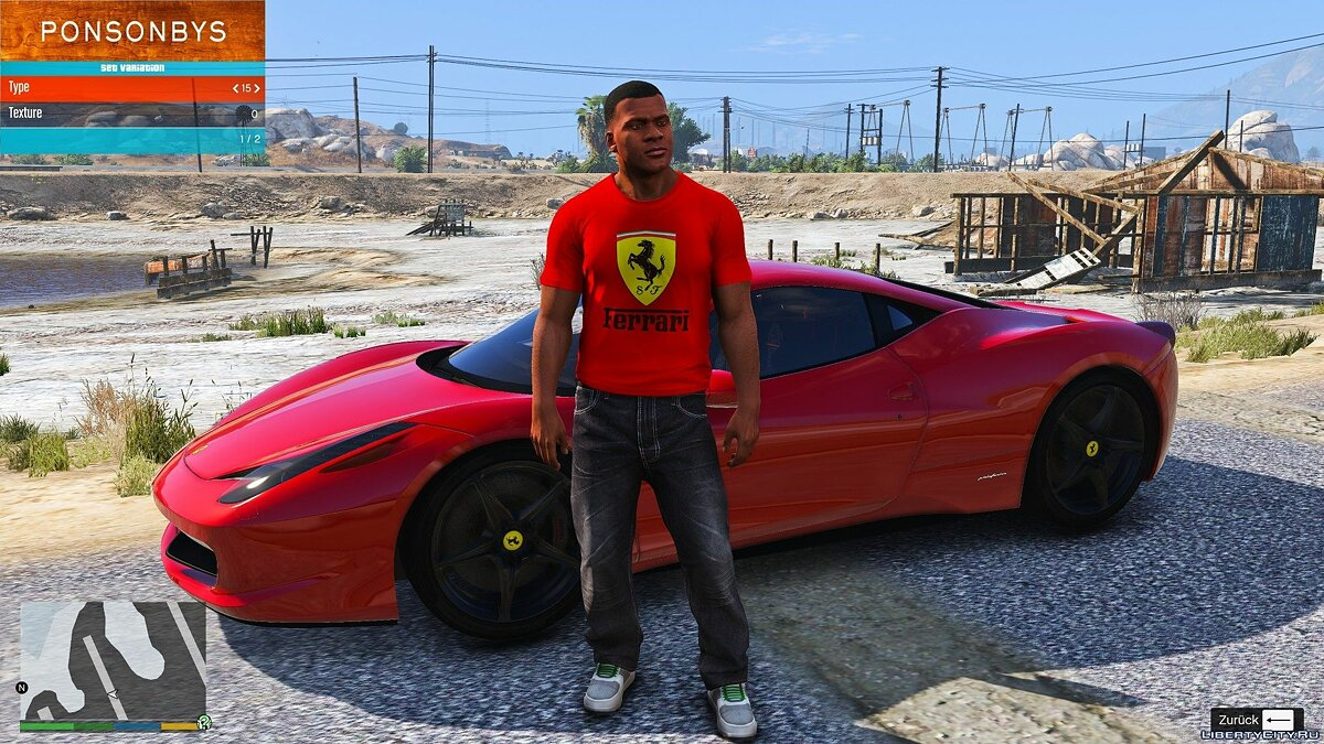 Texture mod Ferrari T-shirt for Franklin 1.0 for GTA 5