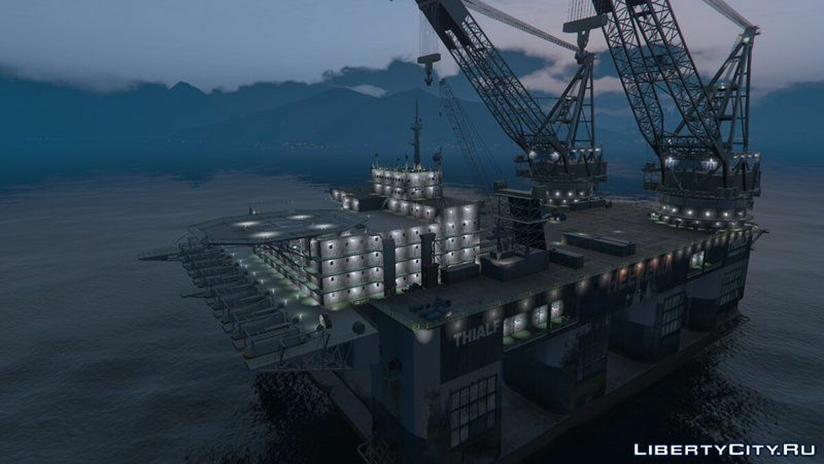 Boats and motorboats Oil Rig Dual Crane-Vessel [Add-On] for GTA 5