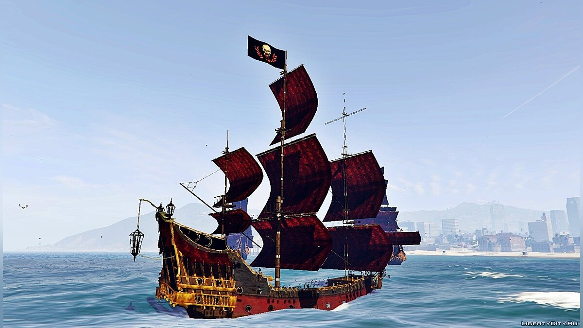 """Boats and motorboats Queen Anne & # x27; s Revenge - the ship revenge of Queen Anne from the movie """"Pirates of the Caribbean"""" for GTA 5"""
