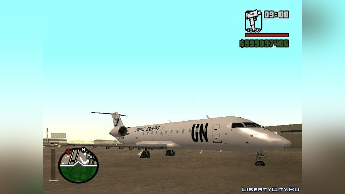 Planes and helicopters Bombardier CRJ-200 United Nations with Al Planes support for GTA San Andreas