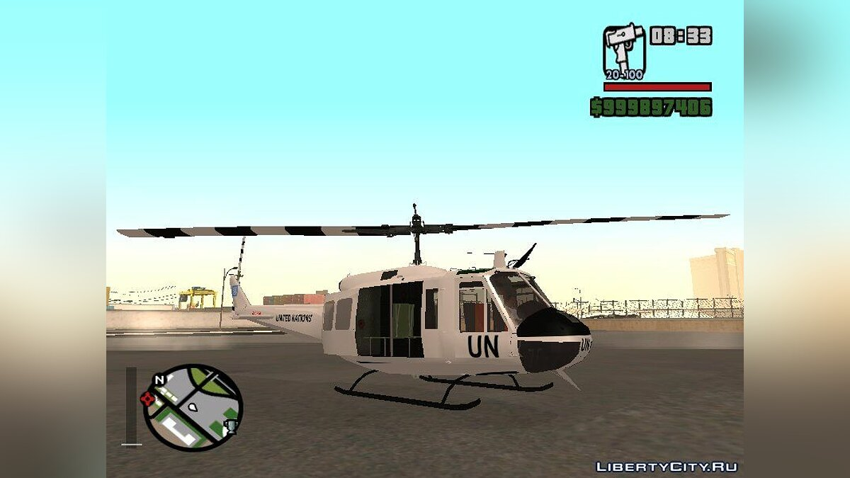 Planes and helicopters Bell UH-1 Huey United Nations - Military Helicopter for GTA San Andreas
