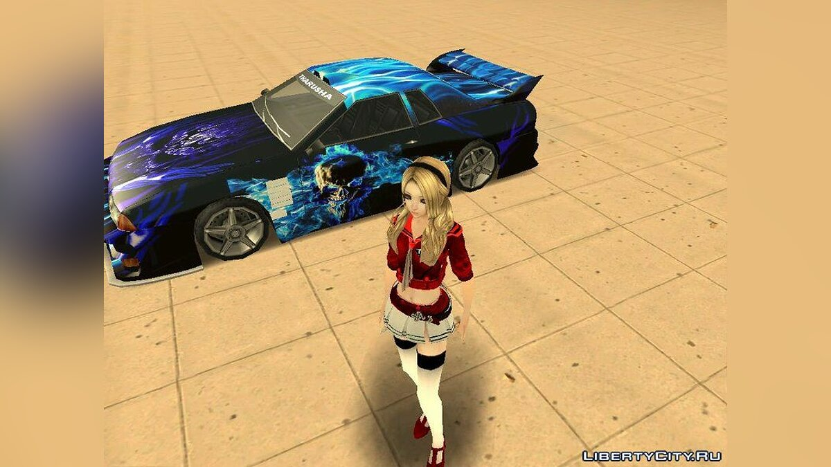 Car texture New coloring for Elegy in the style of a flaming skull for GTA San Andreas