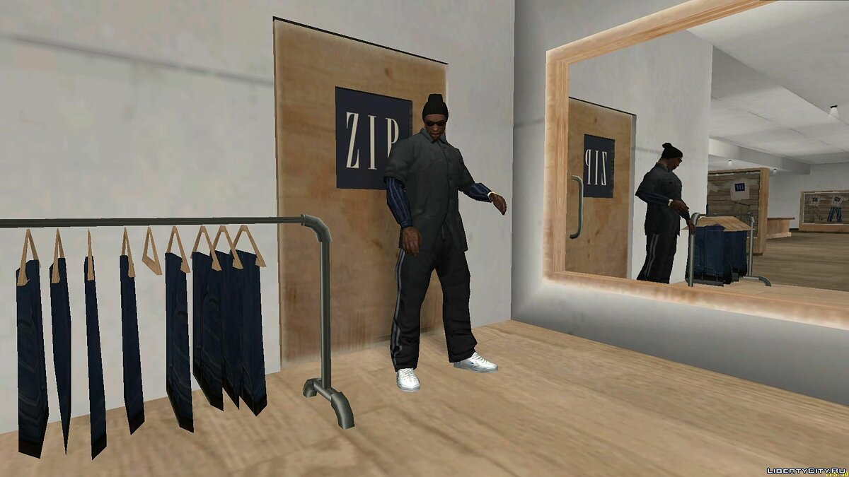 Pullovers and T-shirts Gray shirt with blue sleeves for GTA San Andreas