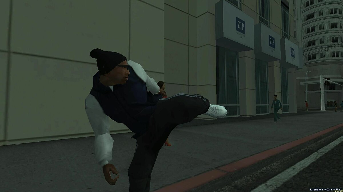 Pullovers and T-shirts Blue sweatshirt with white sleeves for GTA San Andreas