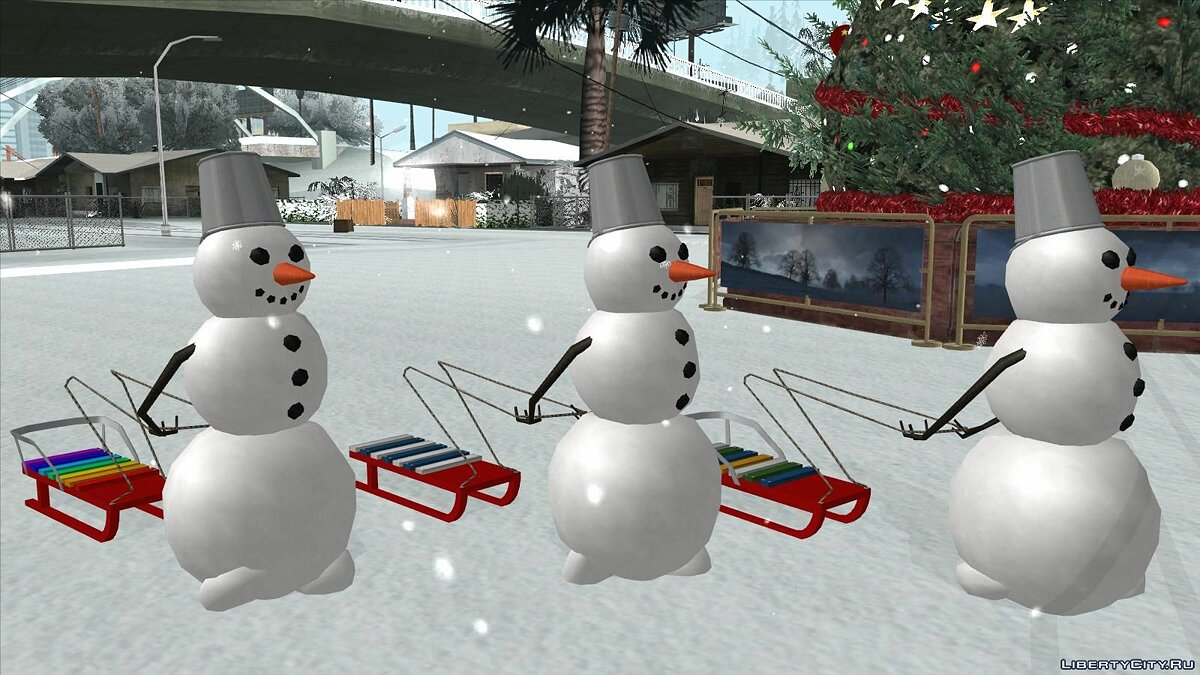 Funny car Snowman with sled for GTA San Andreas