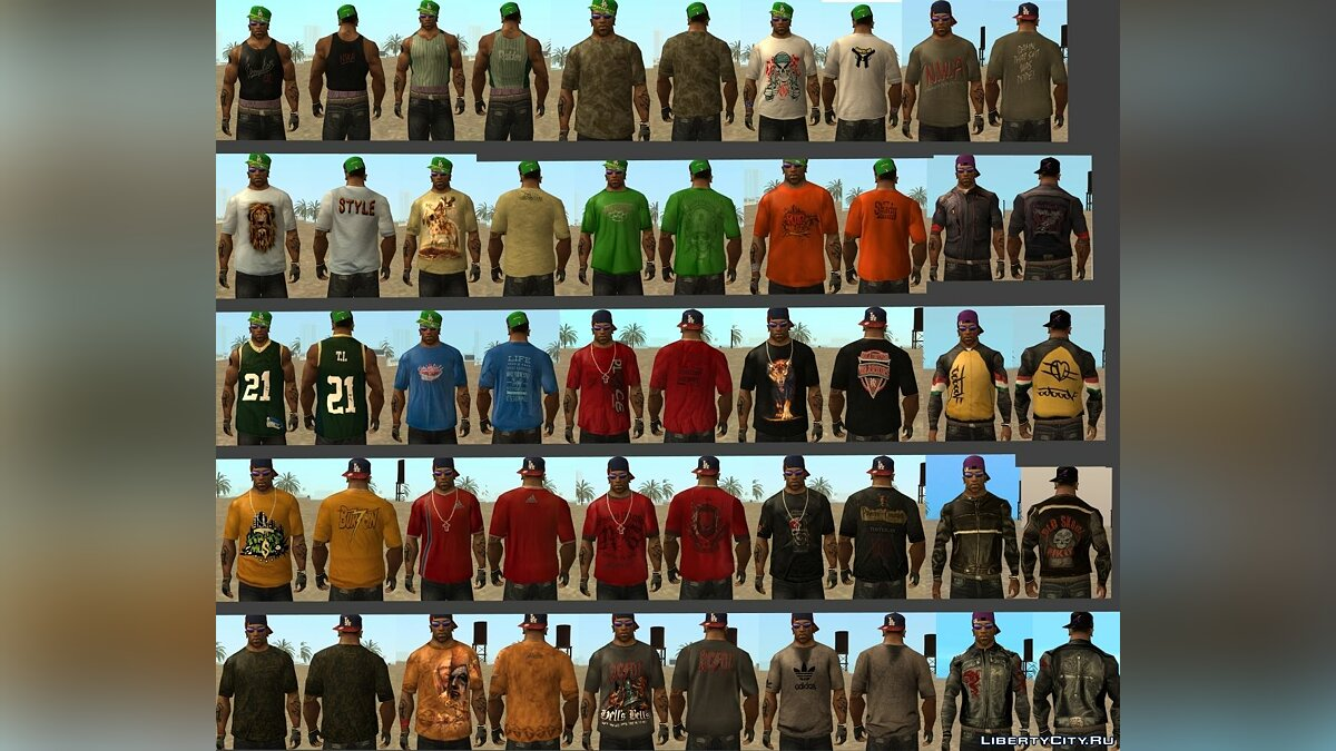 Global mod Big pack of clothes for CJ for GTA San Andreas