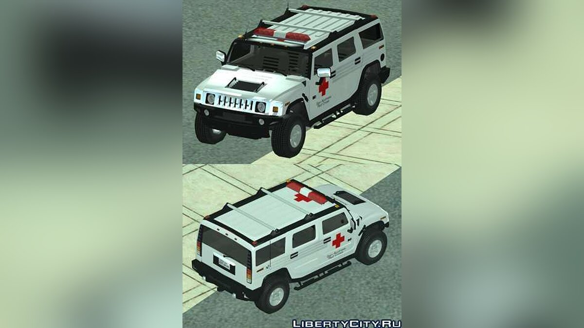 Hummer car AMG H2 HUMMER - RED CROSS (ambulance) for GTA San Andreas